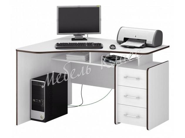 Угловой компьютерный стол с полками и ящиками Триан-5