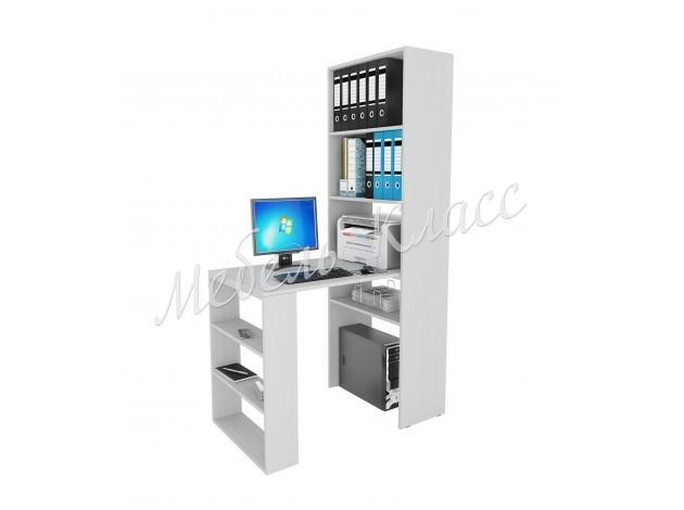 Угловой компьютерный стол с надстройкой и полками Рикс-45