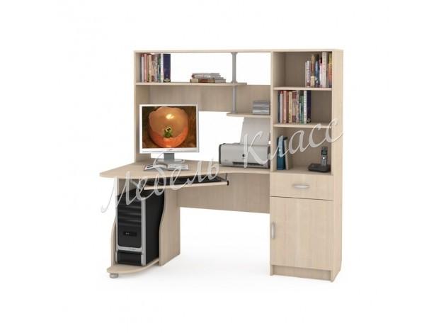 Угловой компьютерный стол с надстройкой и стеллажом Комфорт 8