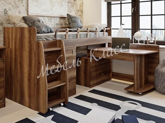 Кровать-чердак с выдвижным столом Навигатор 6