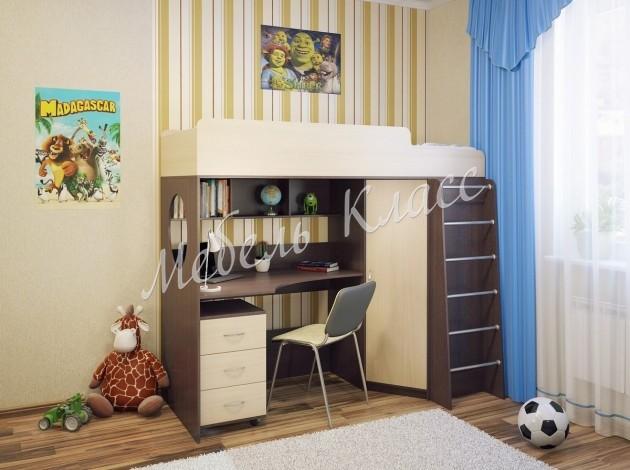 Детская кровать-чердак с рабочей зоной и шкафом Милана-3