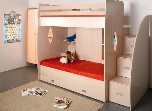 Детская двухъярусная кровать с ящиками