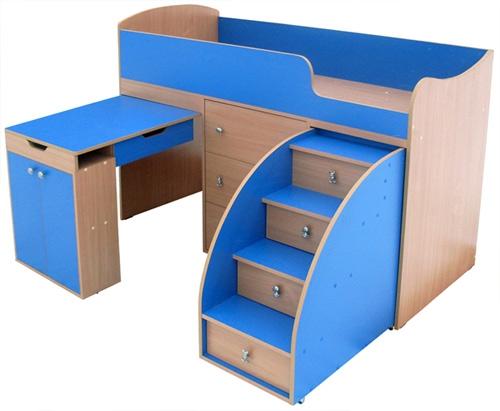 Детский спальный комплекс «Малыш» (дуб светлый и голубой)