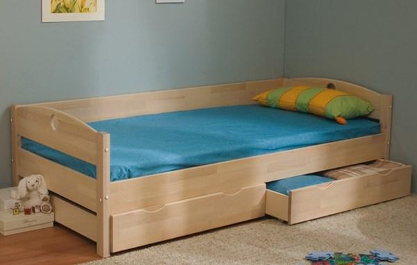 Кровать детская Массив с ящиками выбеленная береза