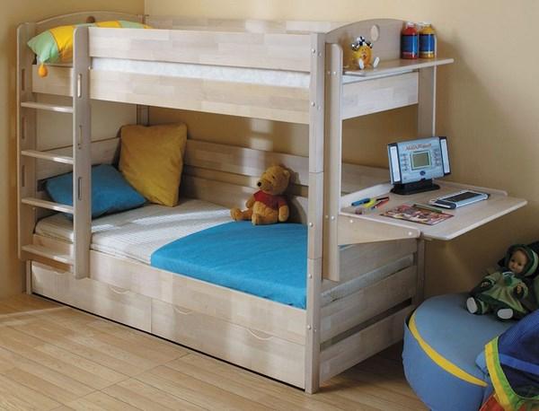Кровать-трансформер двухъярусная навесным столиком